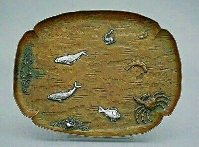 Gorham Mixed Metals Copper Tray w/ Applied Sterling Sea Life c. 1880 🦁⚓️G 🦀🐠