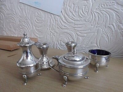 Solid Silver Cruet Set with 2 Like Dwarf Candlesticks Birmingham 1944 & 1976