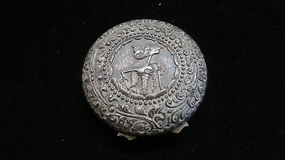 Bali, Indonesia~Sterling Silver Repousse Hinged Compact or Pill Box 35 grams!