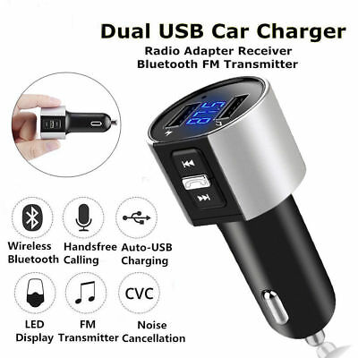 Kfz Bluetooth FM Transmitter MP3 Player für Auto USB Adapter Freisprechanlage DE