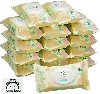 15 PACKS Baby Wipes Scented Mama Bear SOFT Fragranced (840 wipes) Hypoallergenic
