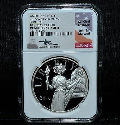 2016-W American Liberty Medal ✪ Ngc Pf-69 ✪ Silver 1St Day Mercanti ◢Trusted◣