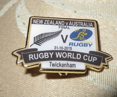 New Zealand Australia Rugby World Cup Final 31/10/2015 Limited Edition Badge