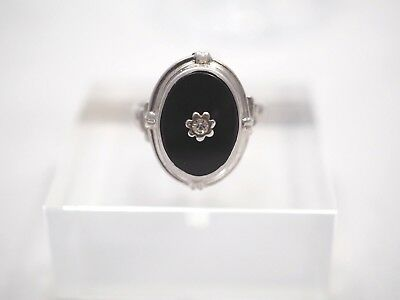Vintage Sterling Silver and Black Onyx with Center Crystal Ring