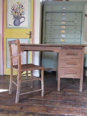 Vintage small oak desk and chair, old school style 3 drawers