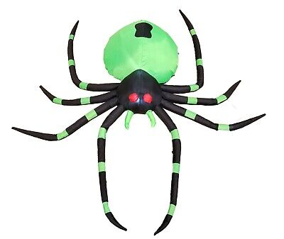 Halloween Lighted Air Blown Inflatable Party Blowup Decoration Hug Green Spider