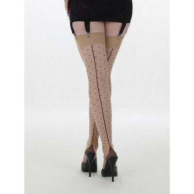 WHAT KATIE DID Retro Inspired Polka Dot Stay Up Stockings BRAND NEW S/M