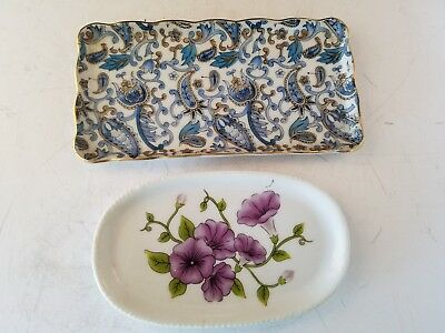 "Blue Paisley Lefton Tray 6.25x 3.25"" NE 2351& Royal Norfolk plate tray 5.25 x 3"""
