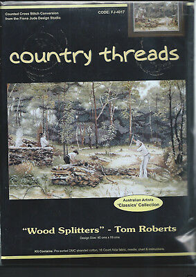 """ WOOD SPLITTERS "" Counted Cross Stitch Kit, by Country Threads"