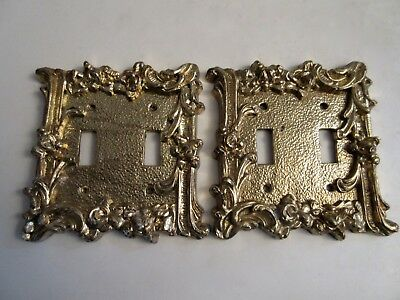 2 Vintage Gold Double Light Switch Cover Plates Rose Metal American Tack?