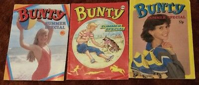3 Vintage  Bunty Summer Special Comics From 1984, 1985 & 1986