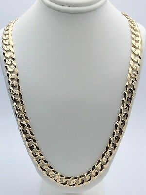 "Men's Solid 14K Yellow Gold 24"" Cuban Link Chain Necklace 9.5mm - 61 grams"