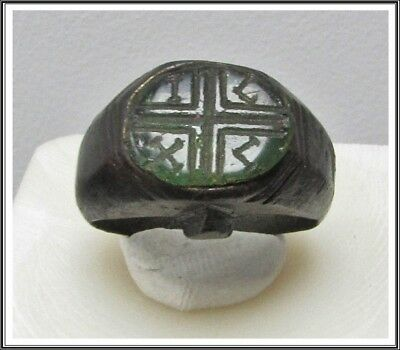 Ancient Bronze Byzantine  Ring ** CROSS **AMAZING**GREEN STONE**