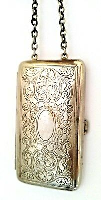 Vintage Art Deco Nickel Silver Oblong Vanity Coins Dance Compact with Chain