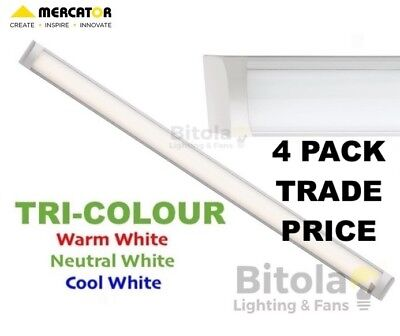 NEW TRADE PRICE 4 x MERCATOR NEO 1200mm 45w LED SLIMLINE BATTEN LIGHT COOL PACK