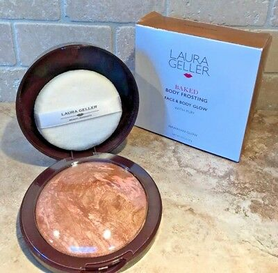 LAURA GELLER Baked Face Body Frosting HAWAIIAN GLOW Bronzer .70oz W/ PUFF Boxed!