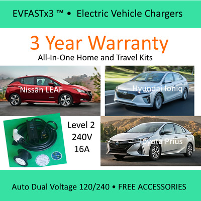 for LEAF Hyundai Ioniq Prius  Level 2 EVSE 16A Electric Car Charger Kit 120&240V