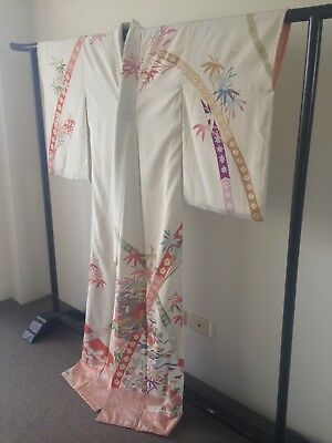 Vintage Japanese Decorative Silk Floral Kimono One of a Kind Hand Made Boho Luxe