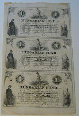 Hungarian Fund - Sheet of (3) One Dollar Notes (2nd February, 1852)