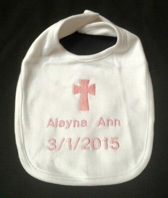 Personalized customized christening pink baby bib religious gift personalized customized christening pink baby bib religious gift cross baptism negle Image collections