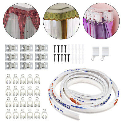 3M Bendable Curtain Track Coil For Bay Straight Windows and Rail Fixings Set