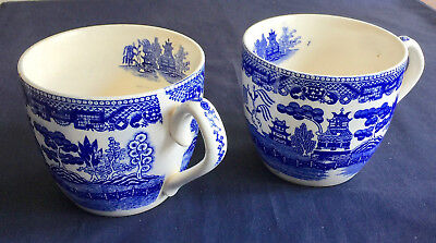 Vintage China Blue Willow Pattern 2 Soup Mugs Made Japan Export Unmarked 03526