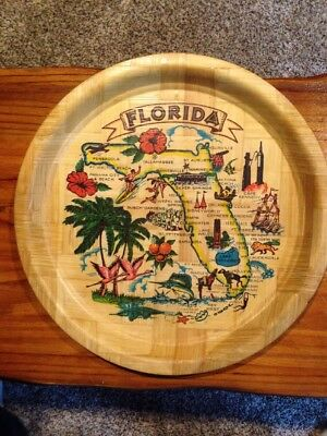 "Vintage Florida Bamboo State Map Woven 13"" Serving Tray. VERY NICE"