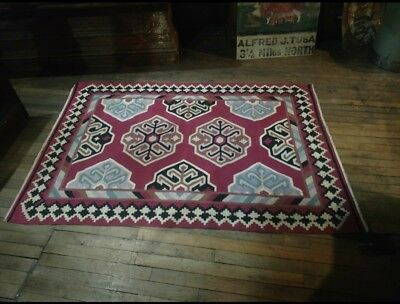 Spanish Mexican Southwest Native American Hand Woven Rug Vintage Living Room