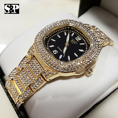 Unisex Hip Hop Bling Gold plated Lab Diamonds Iced out Luxury Metal Band Watch