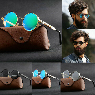 f1d5781b676c Vintage 70s Retro Polarized Steampunk Sunglasses Fashion Round Mirrored  Eyewear