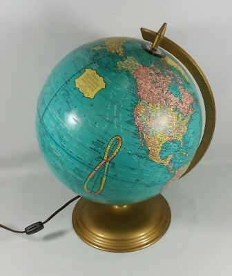 "Vintage George F. CRAMS's Plasti-Lite 12"" Illuminated / Light Up World Globe"