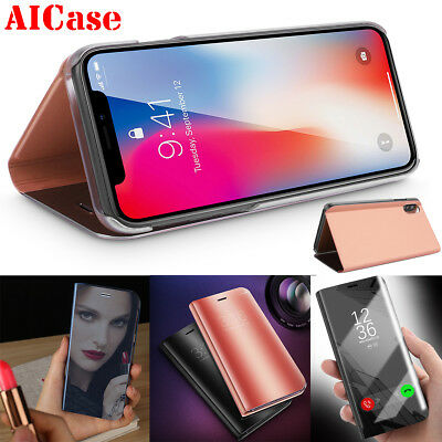 For iPhone X 8 7 Plus Case Smart Clear View Leather Slim Mirror Flip Stand Cover