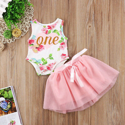 Baby Girls 1st Birthday Tutu Dress Floral One Romper Top Skirt Clothes Outfit