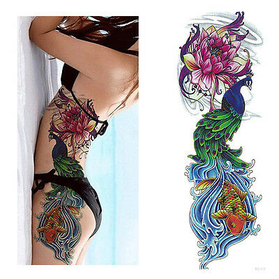 Temporary Tattoo Sticker Full Flower Arm Fish Peacock Lotus Pattern Body Art .