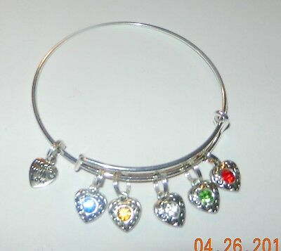 Order of the Eastern Star-Star Point hearts Bangle Bracelet-silver tone #042528
