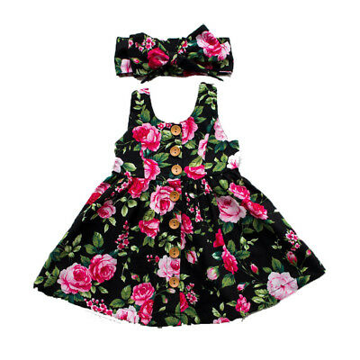 Toddler Infant Kids Baby Girls Summer Floral Dress Princess Party Dresses Nice
