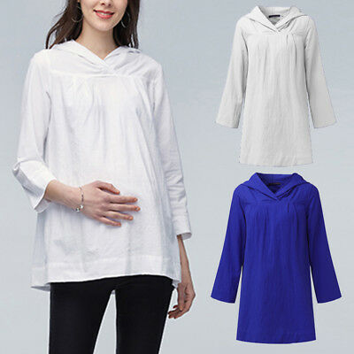 Women Long Sleeve Hoodie Top Pullover Cotton Blouse Maternity Wearable T Shirt