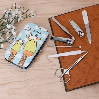 7 X Cute Pedicure Manicure Set Nail Clippers Cleaner Cuticle Grooming Case Kit