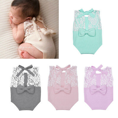 Newborn Photography Prop Baby Stretch Lace Props Romper Knit Dainty Romper