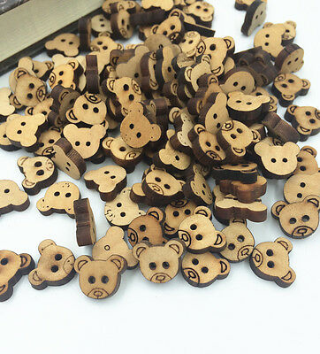 50X Mini Bulk Stylish Cute Bear Buttons Scrapbooking 2 Holes For Baby 13mm
