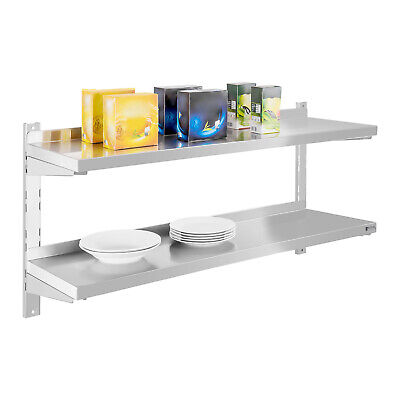 Wall Shelf Practical Space Saving Modern Design Two Tier Shelving Unit 120Cm