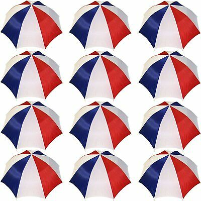 Umbrella Hat Cap Hands Free W/ Head Strap for Sun Rain 12 Pack Red/White/Blue