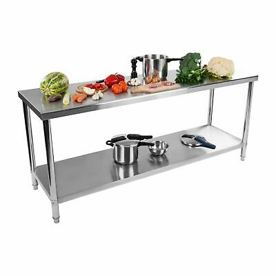 KITCHEN STAINLESS STEEL CENTRE WORK BENCH TABLE 2 SHELVES 200 x 60 CM 160KG LOAD