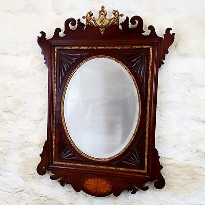 Chippendale Revival Fretwork Mahogany & Parcel Gilt Wall Mirror C19th (George II