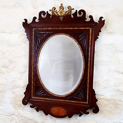 George II Chippendale Revival Fretwork Mahogany & Parcel Gilt Wall Mirror C19th