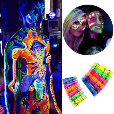 In The Dark Neon Rave Clubbing Festival Paint Glow Face Body Make Up Party #JG