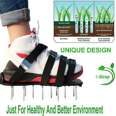 Lawn Aerator Sandals / Aerating Spikes Heavy Duty Spiked Shoes Tool +8 Straps AU
