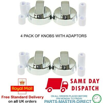 SILVER COOKER OVEN HOB CONTROL KNOB & ADAPTORS FOR BELLING NEW WORLD STOVES x 4