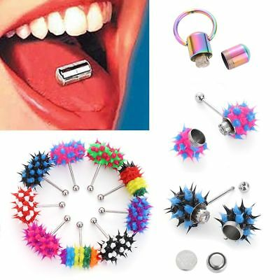 Rubber Stainless Steel Body Piercing Stud Ring Vibrating Tongue Bar Barbell