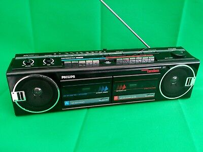 Vintage Philips D8368 Ghetto Blaster Double Cassette Player / Radio Boombox